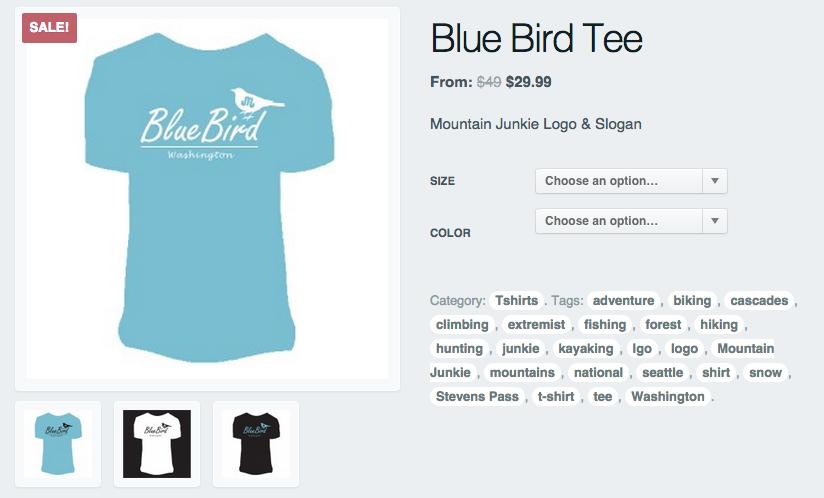mountain junkie bluebird t shirt